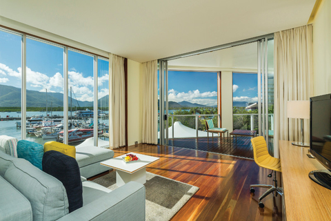 A view inside the Horizon Club Suite at Shangri-La Hotel, The Marina, Cairns