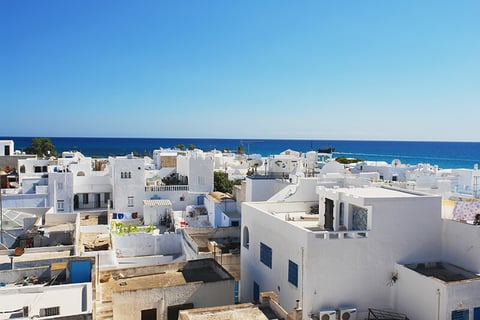 a view of Hammamet, Tunisia overlooking the Mediterranean