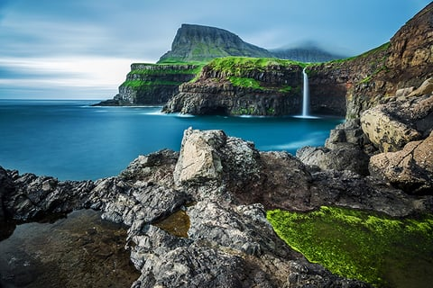 Faroe Islands Gasadalur waterfall