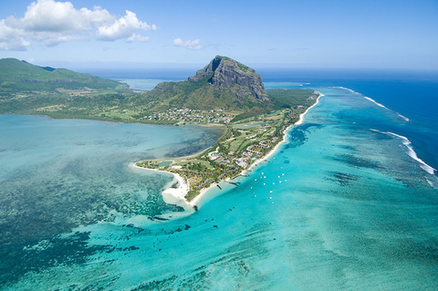 Aerial view of Le Morne Brabant mountain in Mauritius