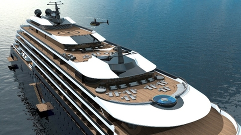 The Ritz-Carlton Yacht Collection Rendering New All-Suite, All-Balcony, 298-Passenger Yacht Editorial Use Only Photo by Ritz-Carlton Yacht Collectio