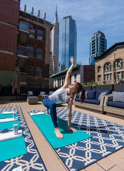 HGU New York Hotel's rooftop yoga