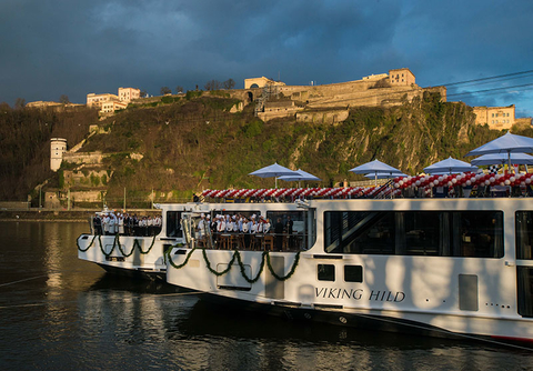 The christening ceremony of the Viking Hild and Viking Herja in Koblenz, Germany