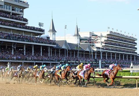 A horse race at Kentucky Derby