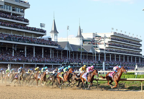 A horse race at Kentucky Derby