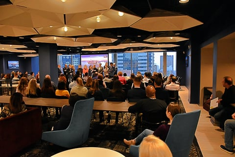 Travel Leaders Group CEO Ninan Chacko conducts the first employee Town Hall meeting at the company's new headquarters at 1633 Broadway in Manhattan. The 106,000-square-foot office space is home to the company's corporate headquarters, as well as its Protr