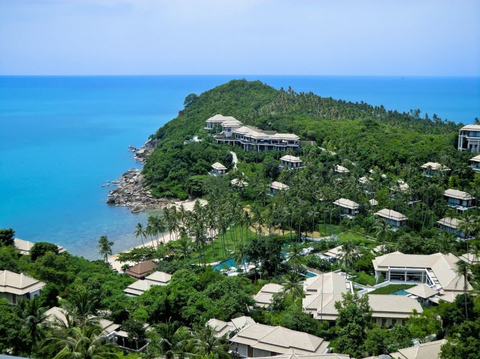 Aerial shot of Banyan Tree Samui