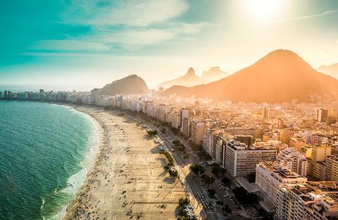 Aerial view of Copacabana Beach in Rio de Janeiro, Brazil