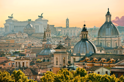 View of Rome from Castel Sant'Angelo, Italy