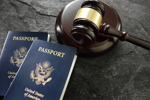 U.S. passports and gavel