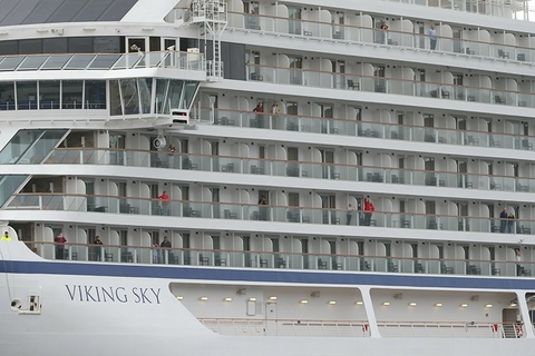 Viking Sky after arrival in Molde, Norway