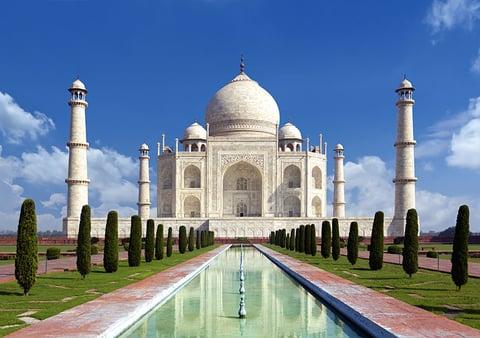 Taj mahal on a bright day in Agra, India