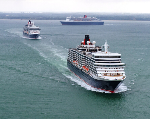 Aerial view of the three flagship Cunard Lines