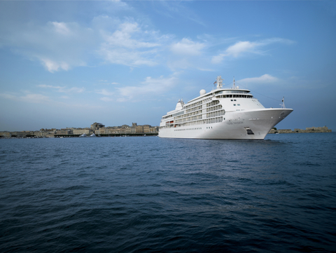 Image of the reimagined cruise ship in the ocean