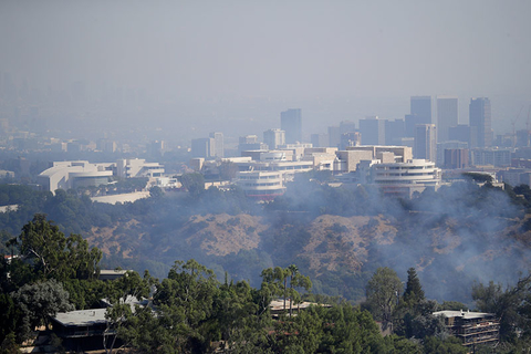 The Getty Center is covered in smoke as the Getty fire burns