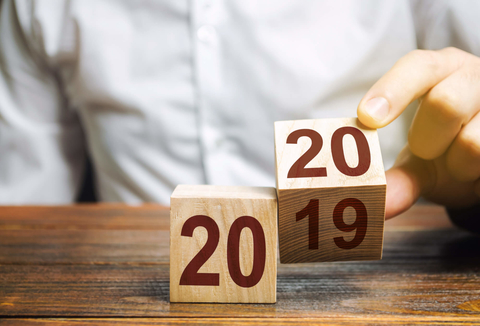 Wooden blocks switching from 2019 to 2020