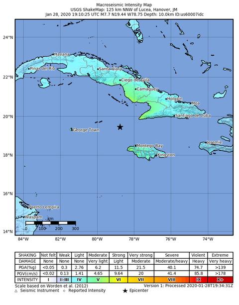 Cuba, Jamaica earthquake