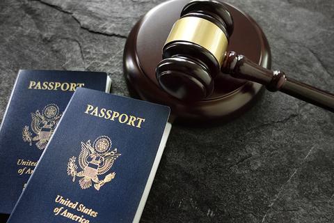 U.S. passports and gavel