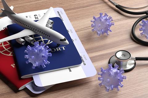 coronavirus with passport, airplane and stethoscope