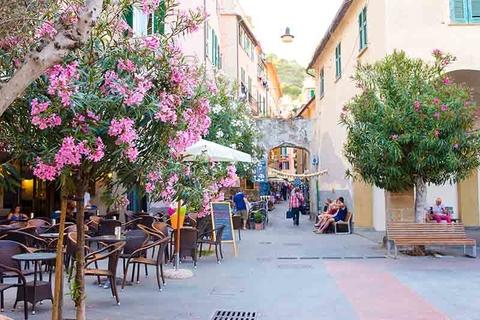 Cafes in a coastal village in Cinque Terre, Italy