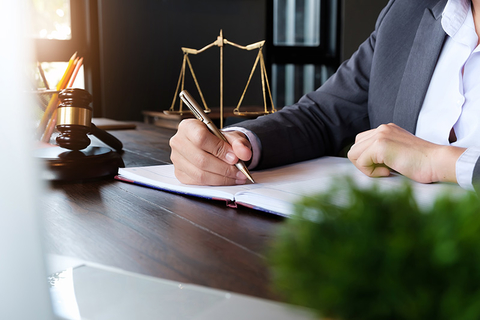 female lawyer with documents / judge