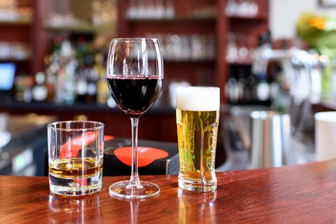 Spirit, wine and beer on a bar