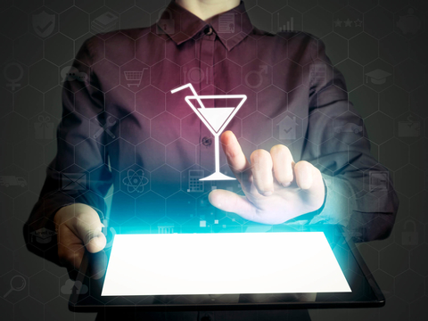Digital cocktail menu on a tablet