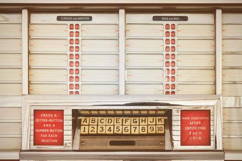 Front of vintage jukebox