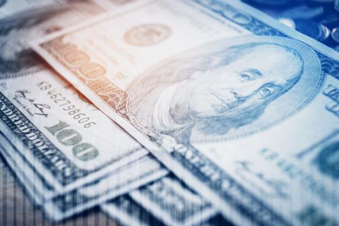 Hundred dollar bill with digital matrix