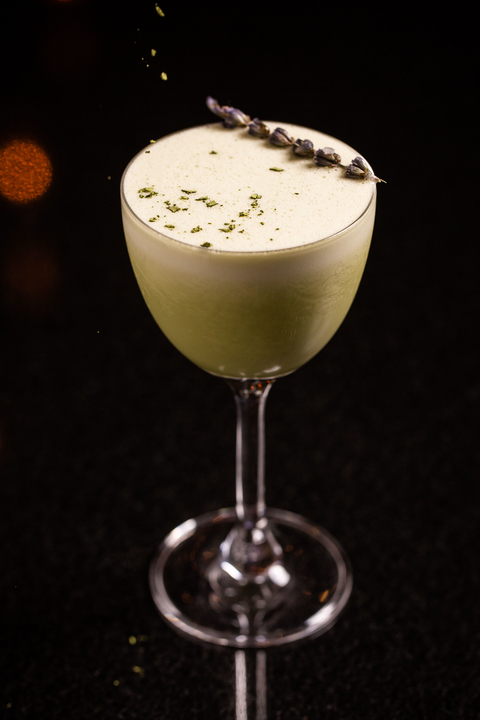 Midori Garden matcha cocktail at Travelle at The Langham in Chicago