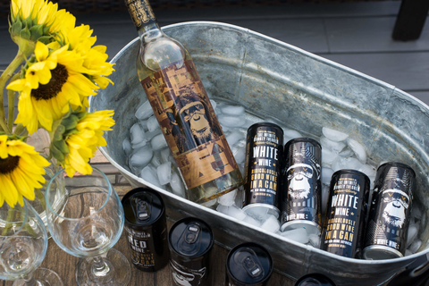 Infinite Monkey Theorem wine bottle and canned wines