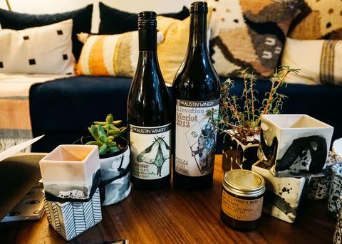 Austin Winery wine bottles