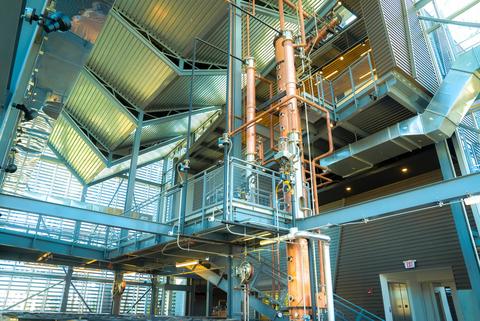 Copper Vendome still inside Rabbit Hole Distillery