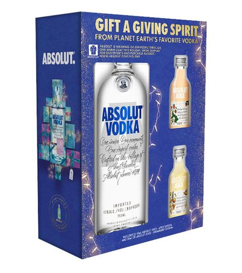 Absolut Vodka with Two Samples of Absolut Juice gift set