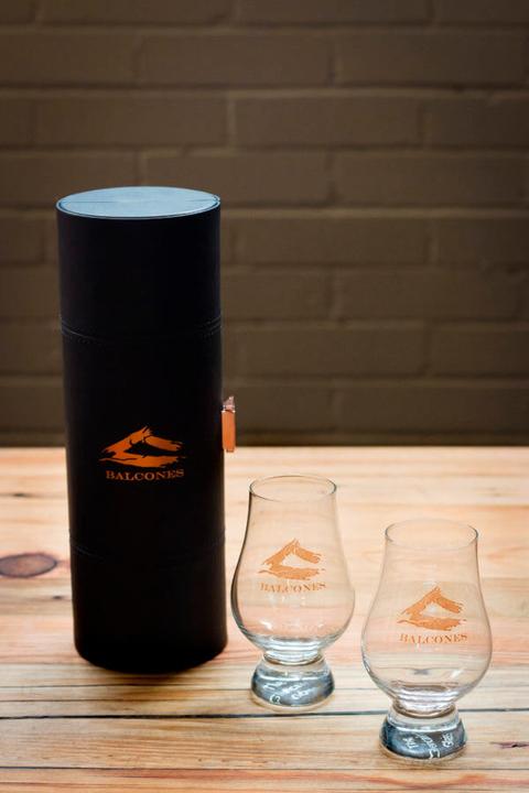 Balcones Distilling Glencairn Glasses and Leather Travel Case