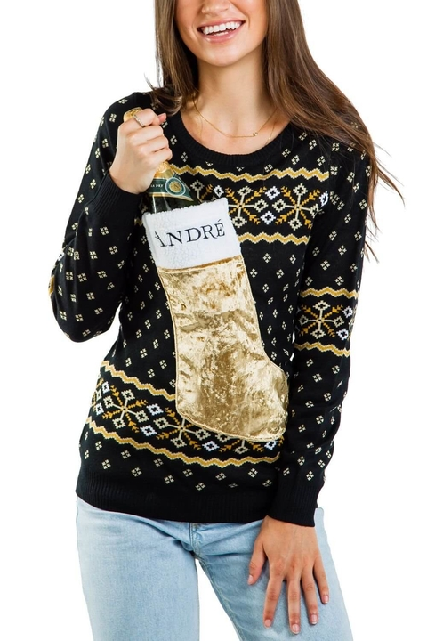 André x Tipsy Elves Champagne Stocking Sweater
