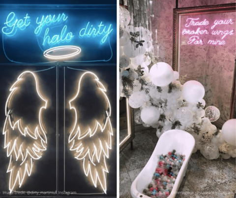 Social media-friendly feature walls inside Dirty Martin and Menagerie in Manchester