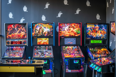 Pinball machines at Punch Bowl Social in Dallas, TX