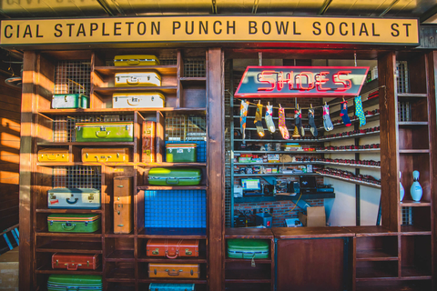 Shoe cage inside Punch Bowl Social in Stapleton
