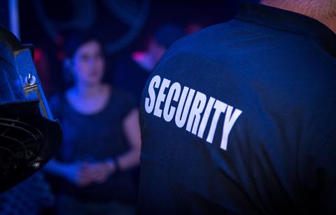 Back of security in nightclub