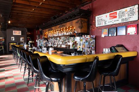 The bar inside Nickel City in Austin, TX