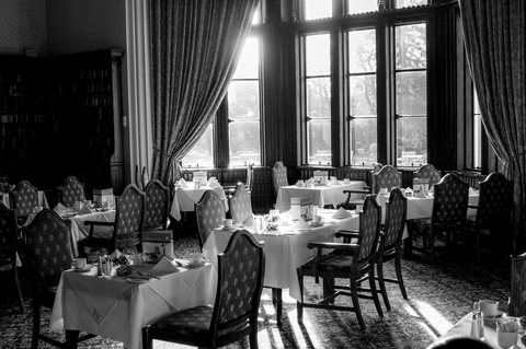 Fine dining black and white restaurant