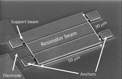 Fig. 1: This image shows scanning electron microscopy (SEM) of a micromachined FFS resonator beam that is only 30 µm x 50 µm.