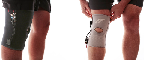 Fig. 1: Soft sensor applied to a knee brace to monitor motion (Bend Labs).