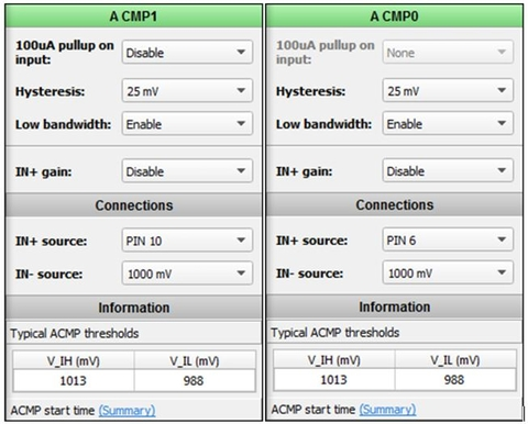 Fig. 5: ACMP configuration settings.