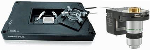 Fig. 10:  Piezo scanners, such as the PInano XYZ slide scanner (shown above) and the PIFOC® microscope lens Z-scanner are employed in many super-resolution microscopes to increase imaging resolution far beyond the diffraction limit and to create 3D images