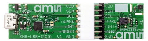 Fig. 2: the CCS811 air quality sensor (pictured on the right-hand board) has a footprint of just 12 mm2. The silver component at the far left is a standard USB connector. (Image credit: ams)