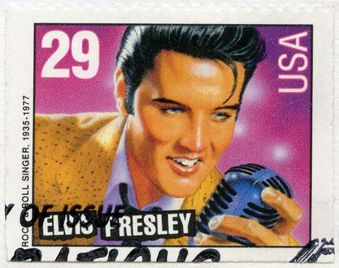 Postage stamp featuring Elvis Presley