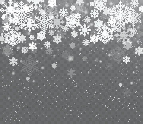 Falling shining transparent snow. Christmas snow with snowflakes.