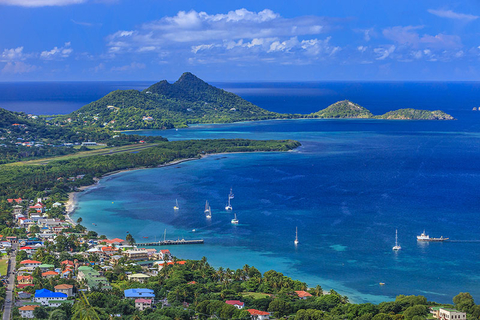 Aerial view of a bay in Grenada in the Caribbean